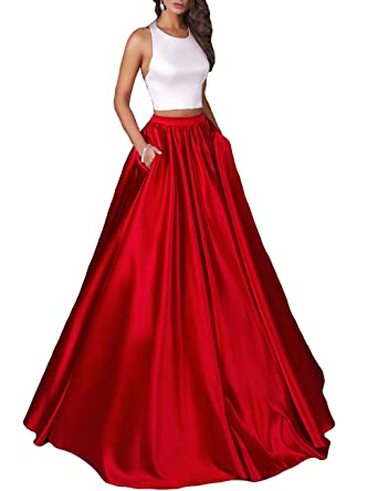 Halter Two Piece Satin Prom Dresses Red Simple Formal Evening Party Gowns with High Waist 2018