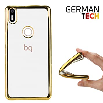 German Tech Funda Gel para Bq Aquaris X - X Pro. Carcasa Transparente con Borde Interno Chapado en Color Dorado, Protege y se Adapta a la perfección ...