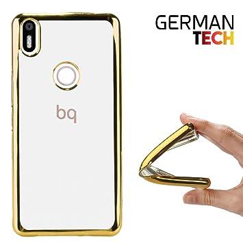 German Tech Funda Gel para Bq Aquaris X - X Pro. Carcasa Transparente con Borde Interno Chapado en Color Dorado, Protege y se Adapta a la perfección a ...