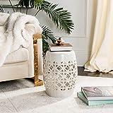 Safavieh Circle Lattice Ceramic Decorative Garden Stool, Cream
