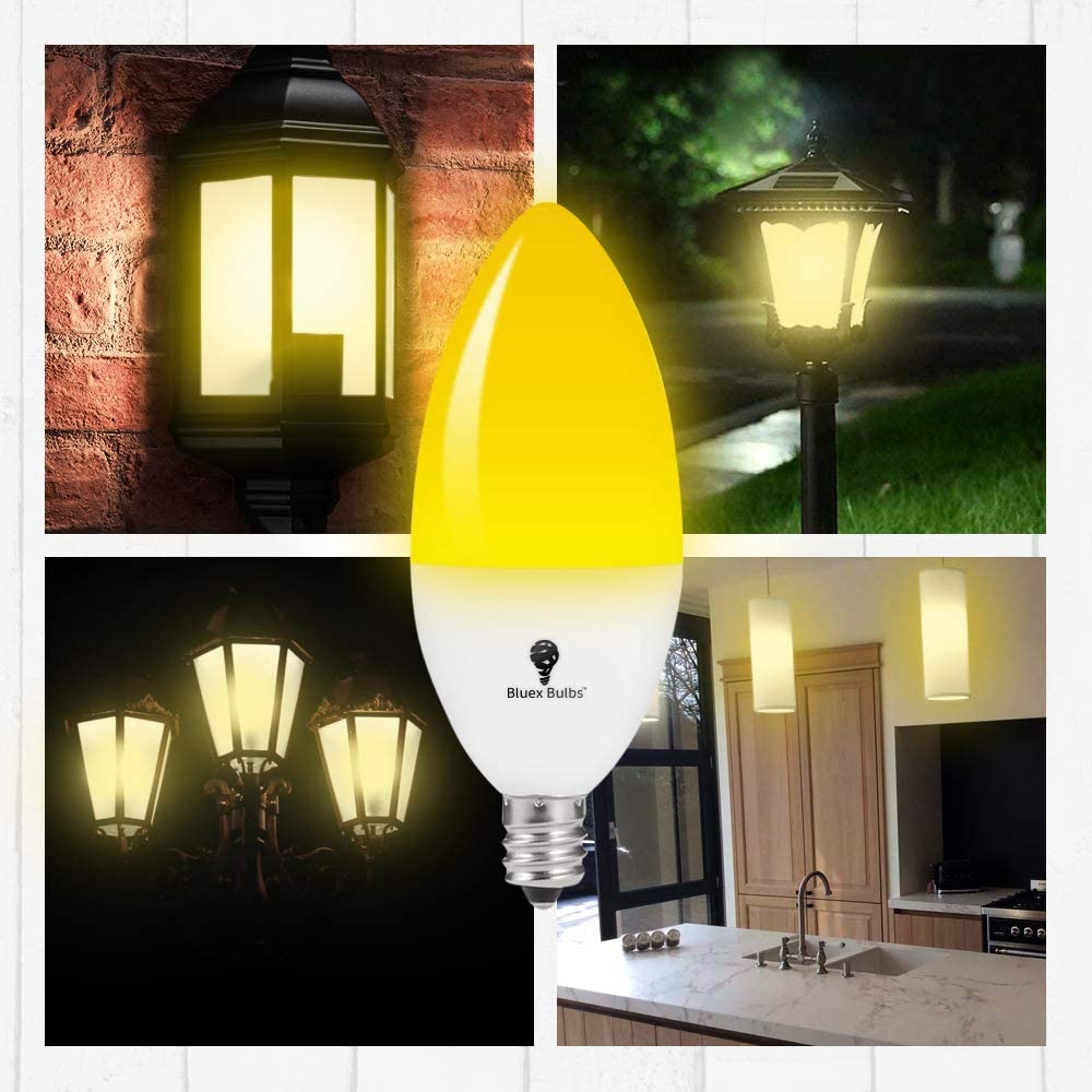 Yellow Bulb 65W Equivalent 2 Pack LED Dusk to Dawn 6W E12 Bug Light Bulbs 2000K LED Porch Lights Security Outdoor Bulb Auto on//Off Amber Light with Automatic Sensor Bulb Candelabra Bulb