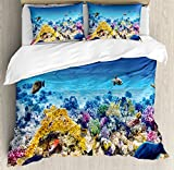 Ocean Decor Duvet Cover Set by Ambesonne, Underwater Sea World Scene with Goldfish Starfish Jellyfish Depth Diving Concept, 3 Piece Bedding Set with Pillow Shams, Queen / Full, Turquoise