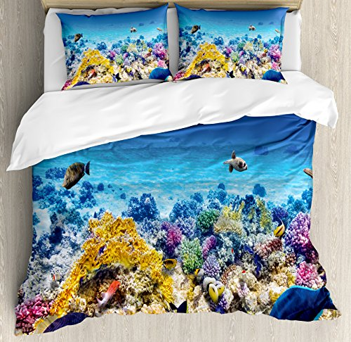 Ambesonne Fish Duvet Cover Set, Underwater Sea World Scene with Goldfish Starfish and Jellyfish Depth Diving Concept, Decorative 3 Piece Bedding Set with 2 Pillow Shams, Queen Size, - Piece Queen 2 Sea