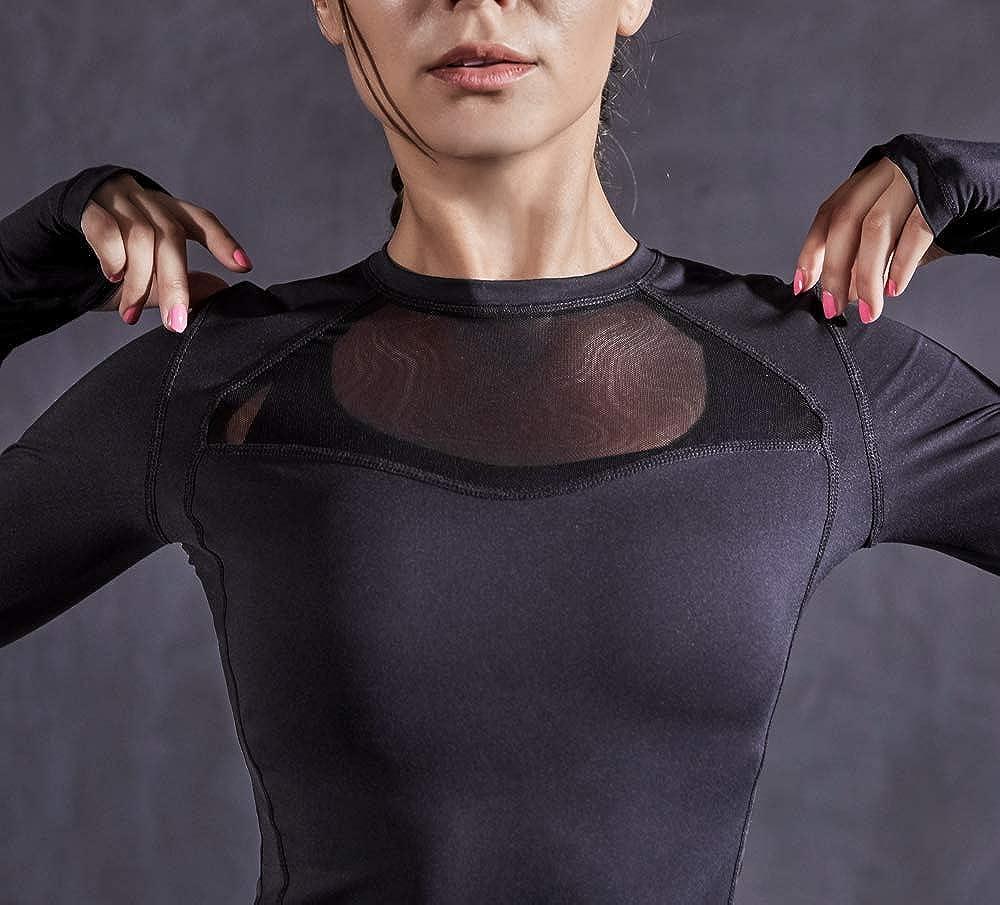 QUEENIEKE Mesh Sports Top Long Sleeve Running T-Shirts for Women Slim Fit