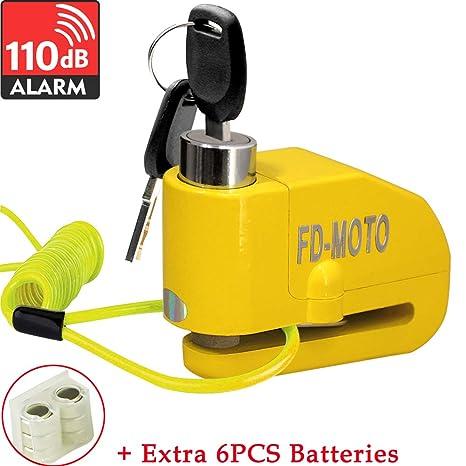 FD-MOTO Dispositivos Antirrobo Candado de Disco con Alarma Antirrobo Acero 7mm 110DB Amarillo con