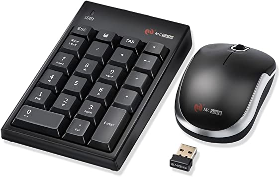 SurnQiee Numeric Keypad and Mouse Combo 2.4G Wireless Ultra-Thin Keyboard and a