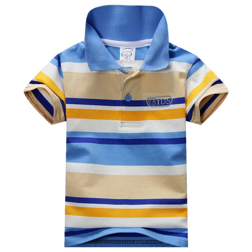 Timall Toddler Boys Girls T-Shirt Short Sleeve Collar Tops Striped Polo T-Shirt Summer Clothing 1-7Y