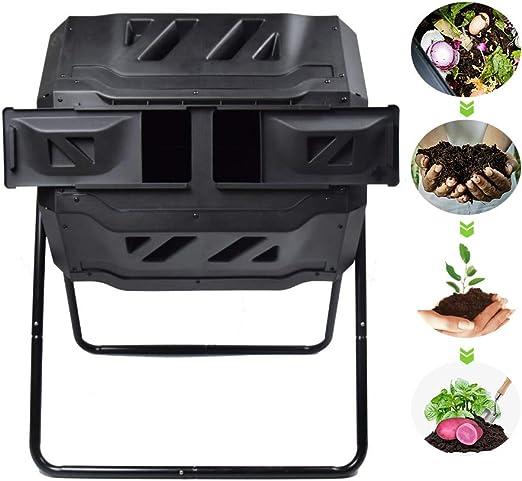 EJWOX Compostador con doble rotación para exteriores, fácil de girar, altura suficiente y compostaje de alta resistencia: Amazon.es: Jardín