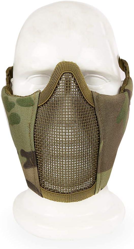 Nai-Style Masque Tactique Fil dacier Demi-Masque de Visage pour Protection du Visage de Paintball Airsoft Mask Mesh Produit//Accessoires pour Sport