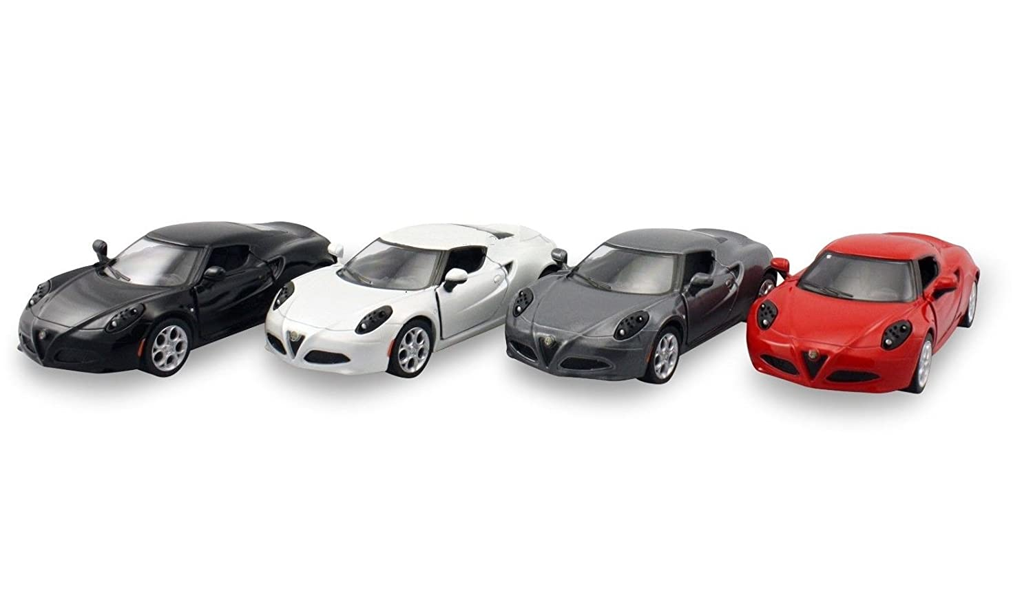 KiNSMART Set of 4: 2013 Alfa Romeo 4C 1: 32 Scale (Red, Black, Gray, White) Toy, Multicolor