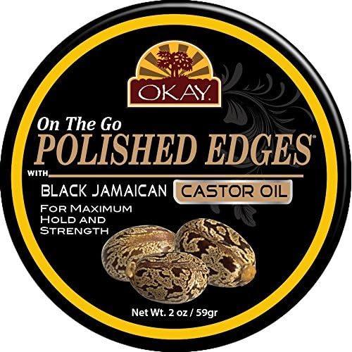 Okay On the Go Polished Edges, Black Jamaican Castor Oil 2oz