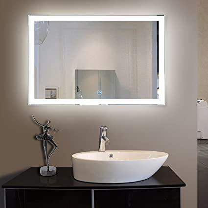 Beautiful 55 x 36 In Horizontal LED Bathroom Silvered Mirror with Touch Button N031 C Plan - Contemporary large framed bathroom mirrors Minimalist