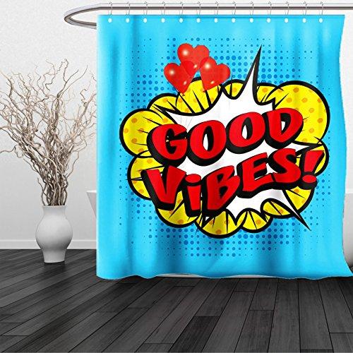 HAIXIA Shower Curtain Good Vibes Pop Art Composition Speech Bubble Retro Letters Heart Balloons Blue Yellow Vermilion