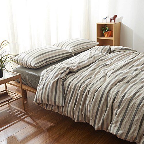 Striped Design Bedding Sets - MeMoreCool 100% Washed Cotton 4 Pieces Reactive Printing YKK Hidden Zipper Multiple Optional Full -