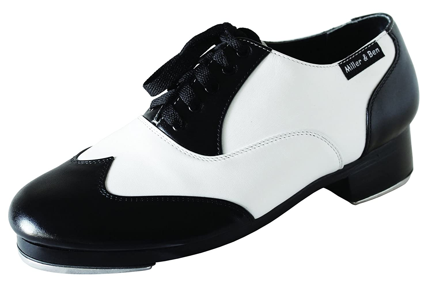 1950s Shoe Styles: Heels, Flats, Sandals, Saddles Shoes Miller & Ben Tap Shoes Jazz-Tap Master Black & White - STANDARD SIZES $285.00 AT vintagedancer.com