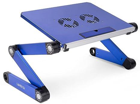 Lavolta Tavolino Pieghevole.Lavolta Tavolino Pieghevole Vassoio Della Colazione Per Notebook Pc Portatile Sistema Di Raffreddamento 2x Ventole Alluminio Azzurro