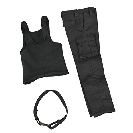SONONIA ハンサム 黒色 ファブリック 製 1/6 ベスト ズボン セット 衣類 12 インチ 男性アクションフィギュアに対応