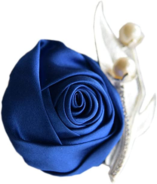 and Light Blue Rose Lapel Pin Boutonniere Yellow Dark Blue