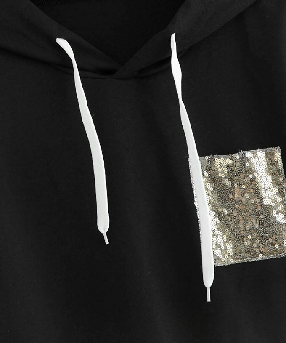 YUNY Sequin Splice Loose Fit Casual Fashion Hoodie Sweatshirt Black XL