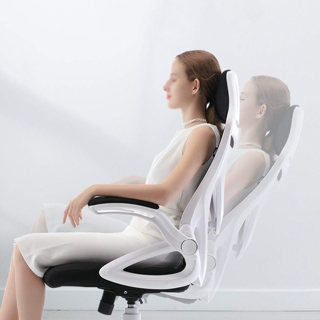 YYL kontorsstol kontorsstol, ergonomisk skrivbordsstol dator nätstol med ländrygg stöd och justerbar höjd, vit svängbar stol (färg: Stil2) Stil1