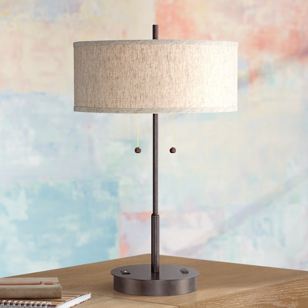 Nikola bronze metal table lamp with usb port amazon geotapseo Gallery