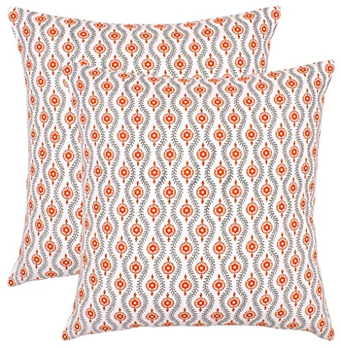 (Bath Bed Decor Set of 2 Throw Pillow Case Soft Decorative Square Cushion Cover for Couch 100% Cotton Euro Pillow Shams with Invisible Zipper Pearl Trellis 18x18 inches/ 45 x 45 cms Orange )