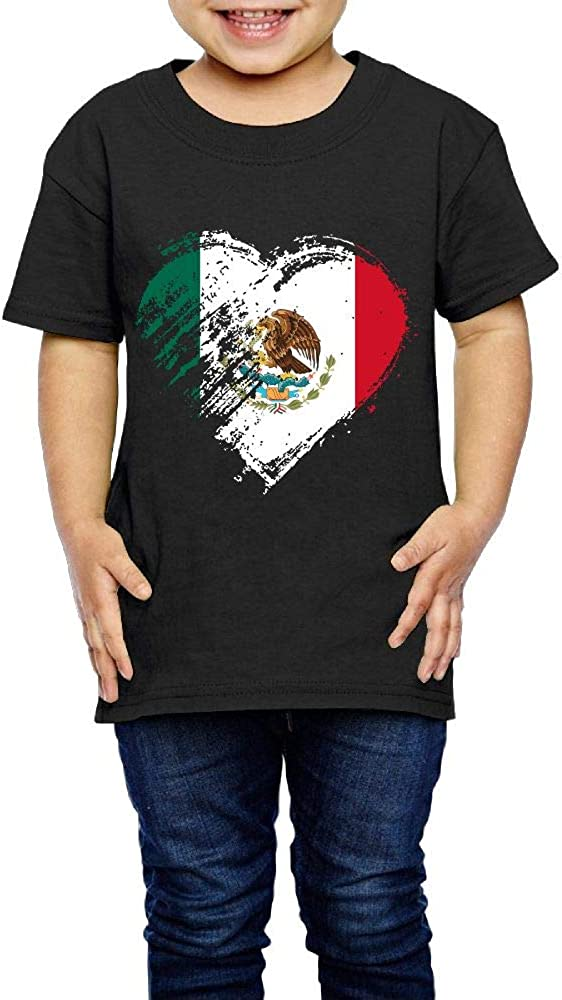 Grungy I Love Mexico Heart Flag 2-6 Years Old Children Short-Sleeved Tshirt