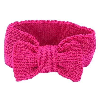 Bowknot patrón bebé niña Boy Knit Crochet diadema calentador de ...