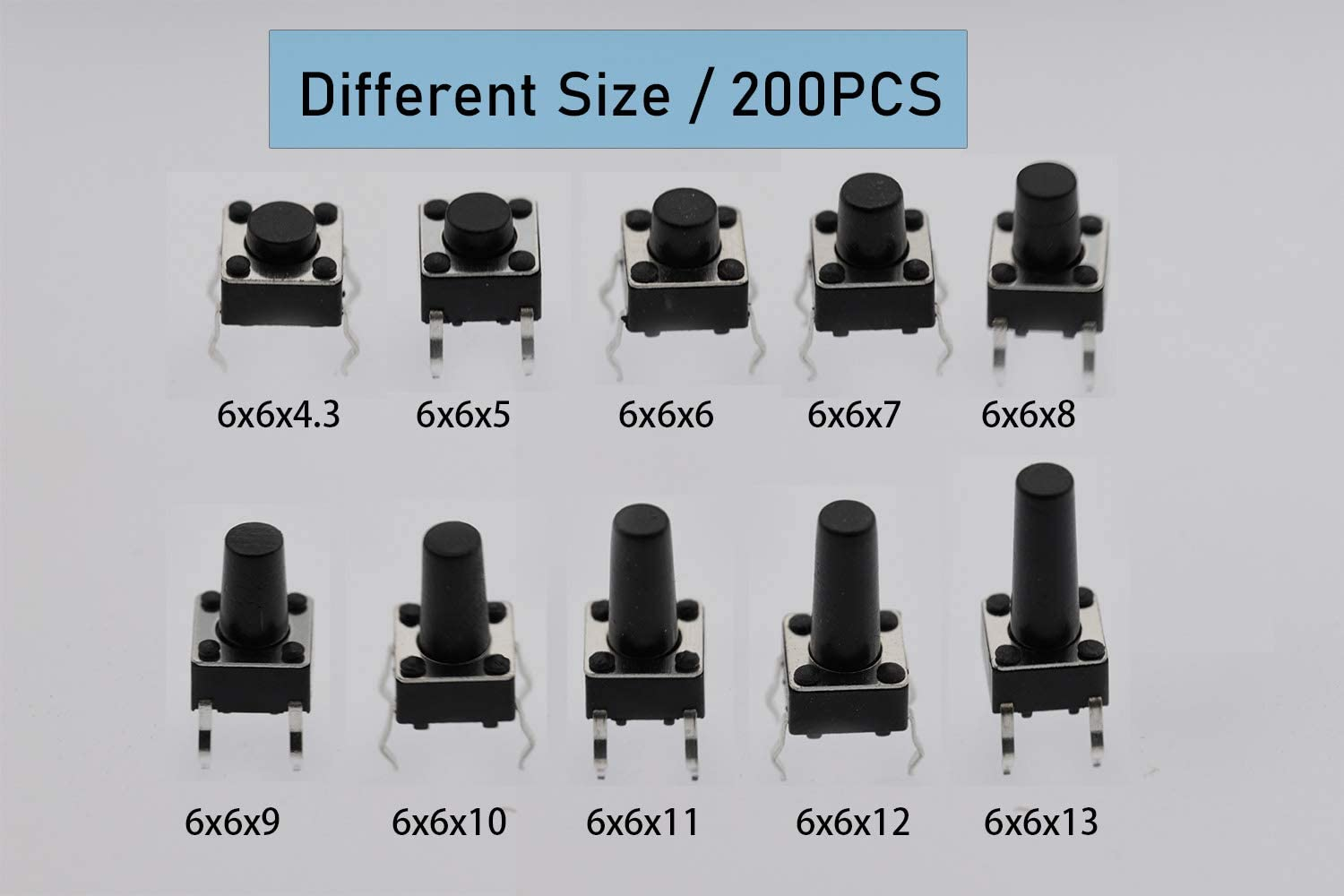 200 Pieces CO-RODE DIP 6 x 6mm Tactile Push Button Switch Micro Momentary Tact Assortment Kit