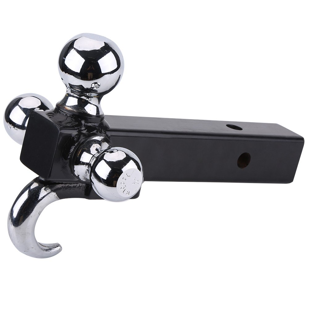 Tri Ball Hitch with Hook,3 Ball Trailer Hitch Heavy Duty Receiver Mount 1 7/8'' 2'' 2 5/16'' Towing by Zerone