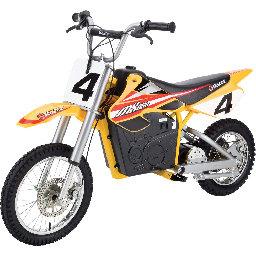 Razor MX650 Dirt Rocket Electric-Powered Dirt Bike with Authentic Motocross Dirt Bike Geometry, Rear-Wheel Drive, High-Torque, Chain-Driven Motor, for Kids 13+