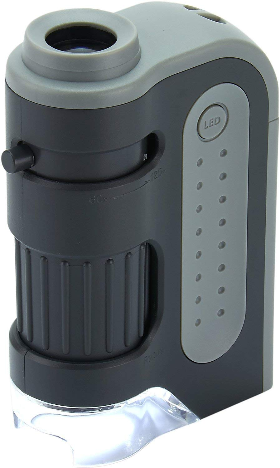 Carson MicroBrite Plus 60x-120x LED Lighted Zoom Pocket Microscope with Aspheric Lens System