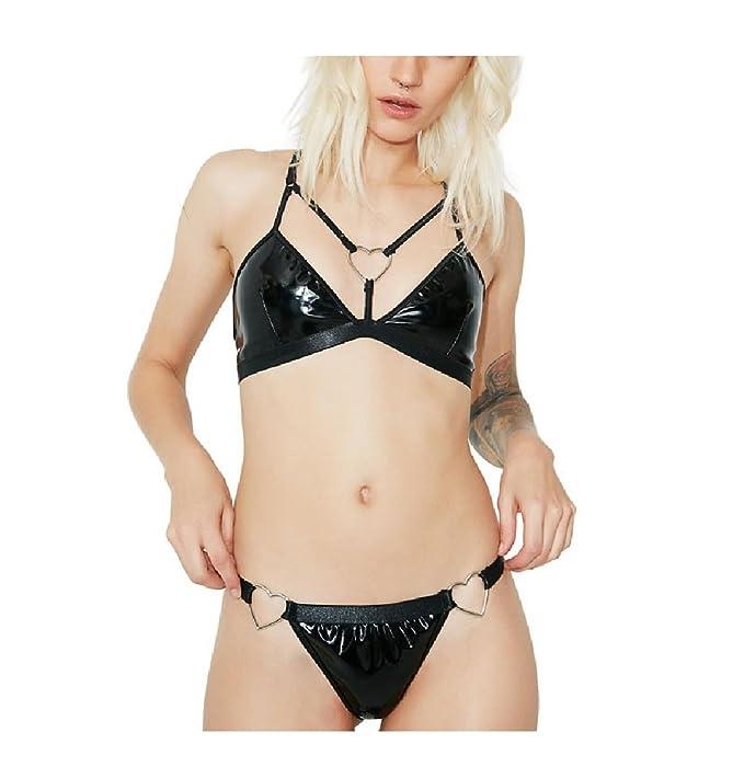 Oudan Conjunto de Ropa Interior de Mujer sin Forro Bralette Underwear Sujetador de Cuero de PU Set Ropa Interior Sexy erótica: Amazon.es: Ropa y accesorios