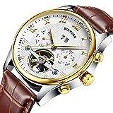 KINYUED Skeleton Watch Automatic Men Tourbillon Mechanical Geniune Leather Strap Calendar Wristwatch