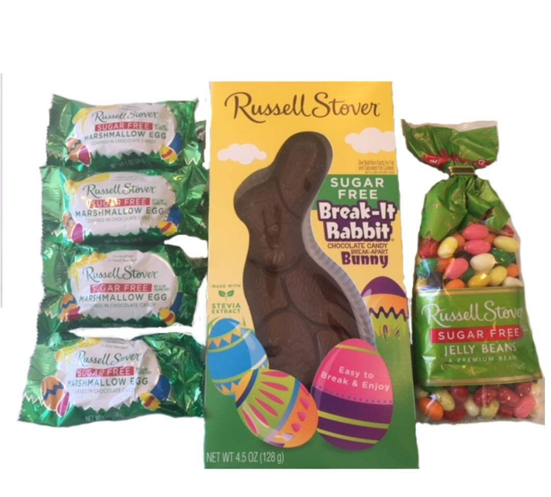 Russell Stover Sugar Free Bundle of 6 Easter Favorites Chocolate Rabbit, Jelly Beans, Chocolate Covered Eggs