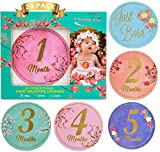 Baby Monthly Stickers-24 Floral Milestone Stickers with Shiny Metallic Gold Letters for Newborns | Celebrate 0-12 Months - Babys First Year Birthday - & Holidays | Awesome Baby Shower Gift -by ThanKiu2