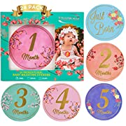 Baby Monthly Stickers-24 Floral Milestone Stickers with Shiny Metallic Gold Letters for Newborns   Celebrate 0-12 Months, Babys First Year Birthday, & Holidays   Awesome Baby Shower Gift -by ThanKiu2