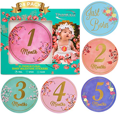 Deluxe Designs Scrapbook Paper (Baby Monthly Stickers-24 Floral Milestone Stickers with Shiny Metallic Gold Letters for Newborns | Celebrate 0-12 Months, Babys First Year Birthday, & Holidays | Awesome Baby Shower Gift -by ThanKiu2)