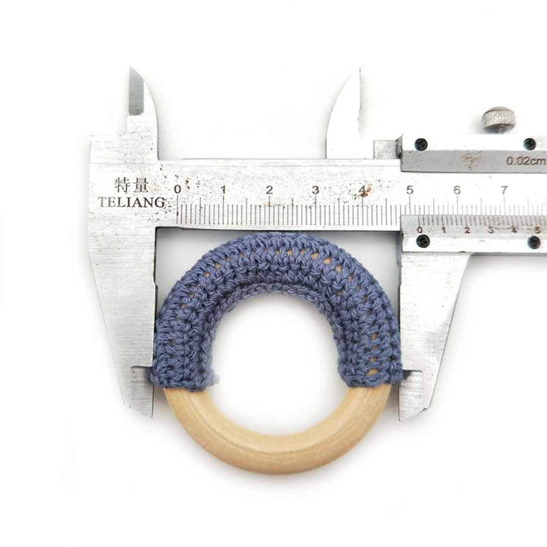 Desconocido 3pc 50mm DIY Anillo de Madera mordedor beb/é//Ganchillo de Madera//Anillo Material de Calidad alimentaria Anillo de mordedura de beb/é