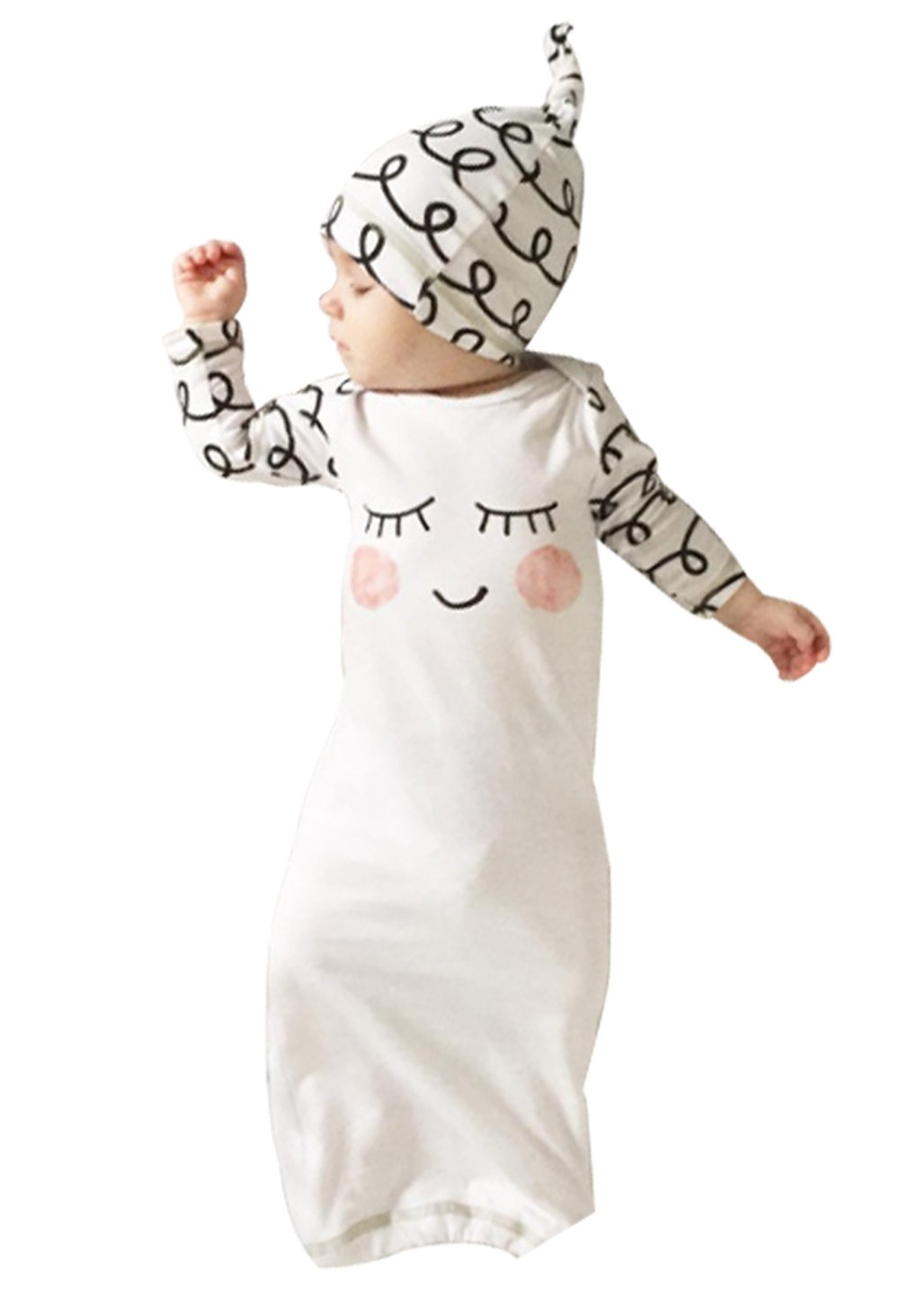 Newborn Baby Girls Sleepy Eyes+Rosy Cheeks Gown Hat Sleepwear Sleeping Bags EGELEXY