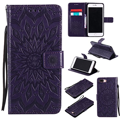 Price comparison product image iPhone 8 Plus Case, Binguowang PU Leather Flip Wallet Case Emboss Sun Flower Pattern Folio Magnetic Protective Cover Case with Card Slots for Apple iPhone 8 Plus 2017/iPhone 7 Plus 2016. (Purple)