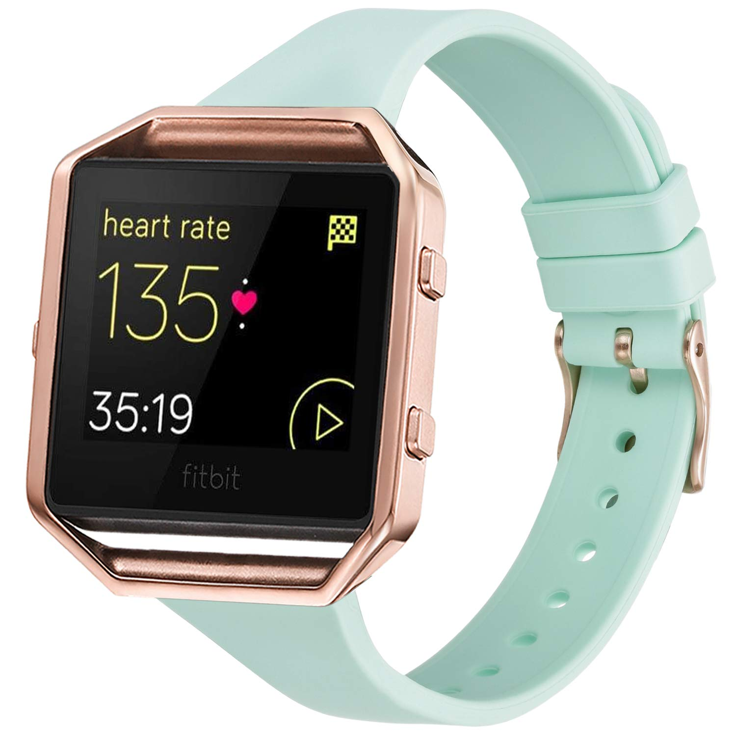 Amcute Compatibe for Fitbit Blaze Band Slim Narrow Thin Silicone Replacement Wristband with Metal Frame for Fitbit Blaze Bands Women Men Small Large