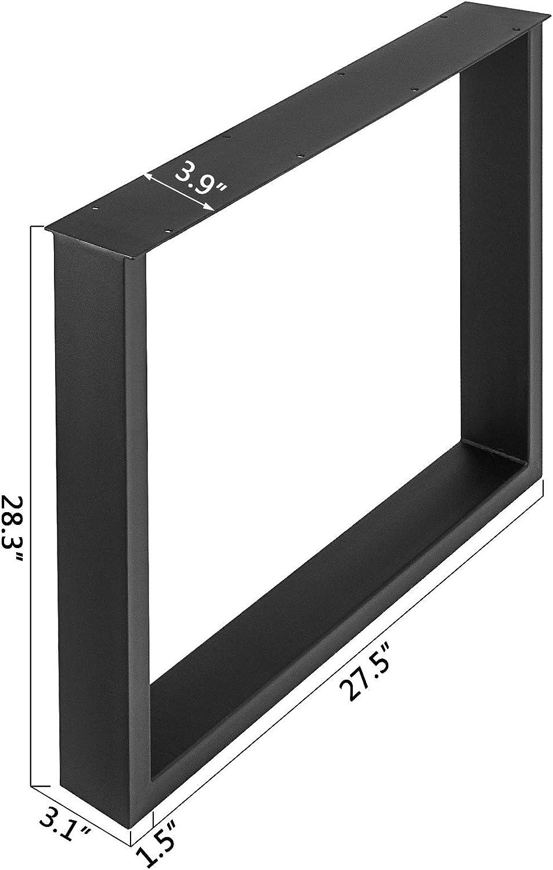 "23.6""X28.4""A Pair Table LegSquare Black Steel Set of 2 Computer Desk Legs Steel"