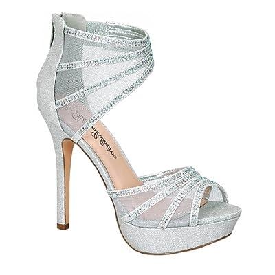 De Blossom Collection Women's Gap-24 D'Orsay Glitter Rhinestone Evening Dress Heels Open Toe Platform Pumps Sandal
