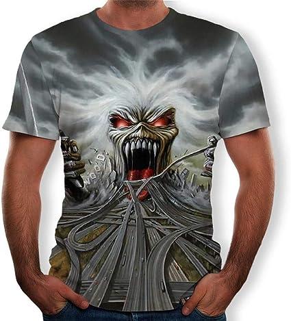 Camiseta Unisex De Manga Corta para Hombre De Iron Maiden 3D ...