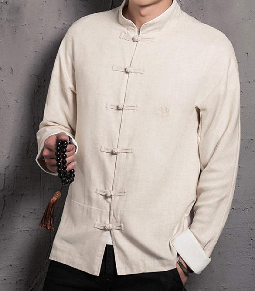 Young2 Mens Embroidery Linen Cotton Button-Down-Shirts Folk Style Shirt