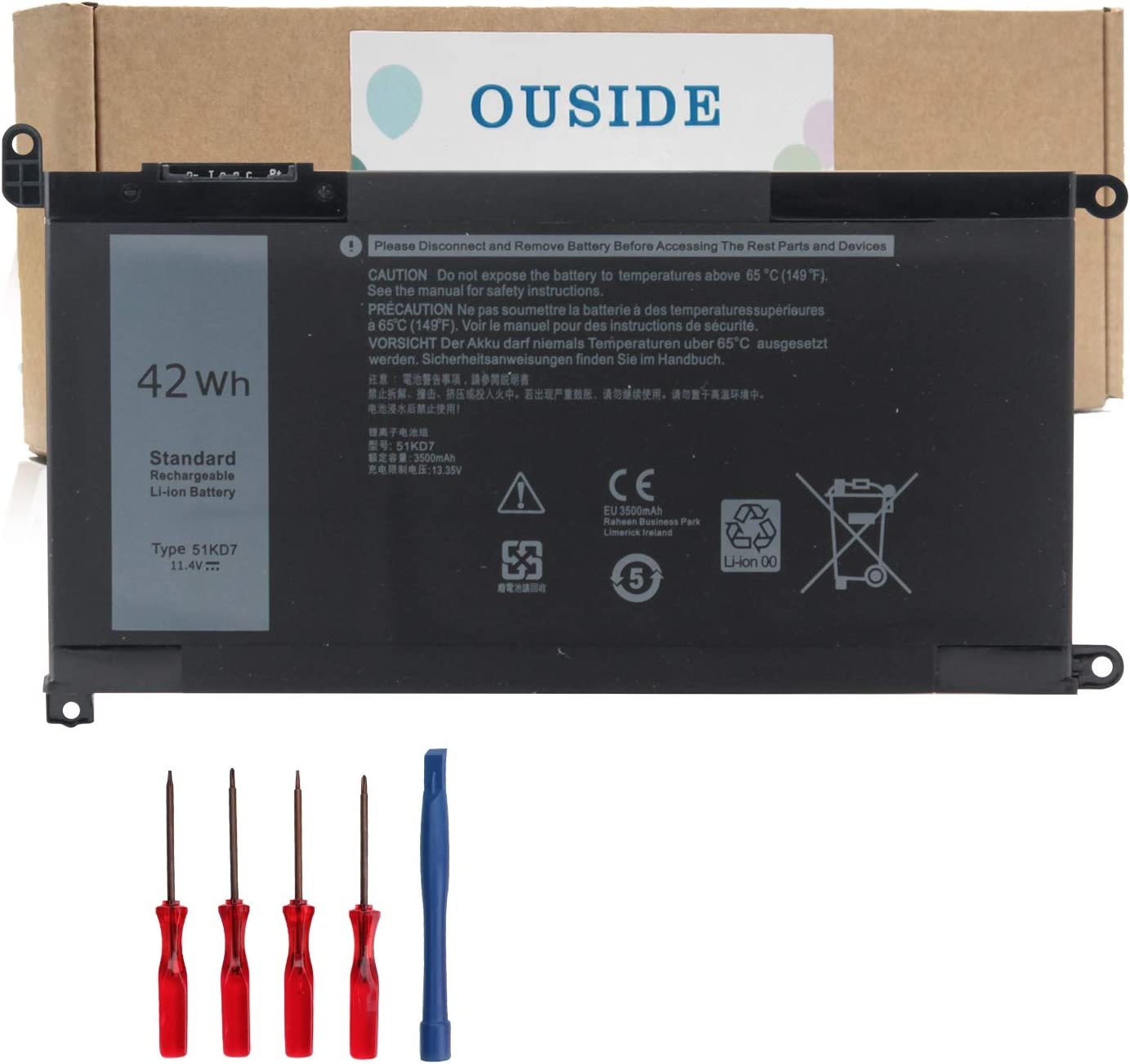 Ouside 51KD7 Laptop Battery Compatible with Dell Chromebook 11 3180 3189 Series Y07HK FY8XM [11.4V 42Wh]