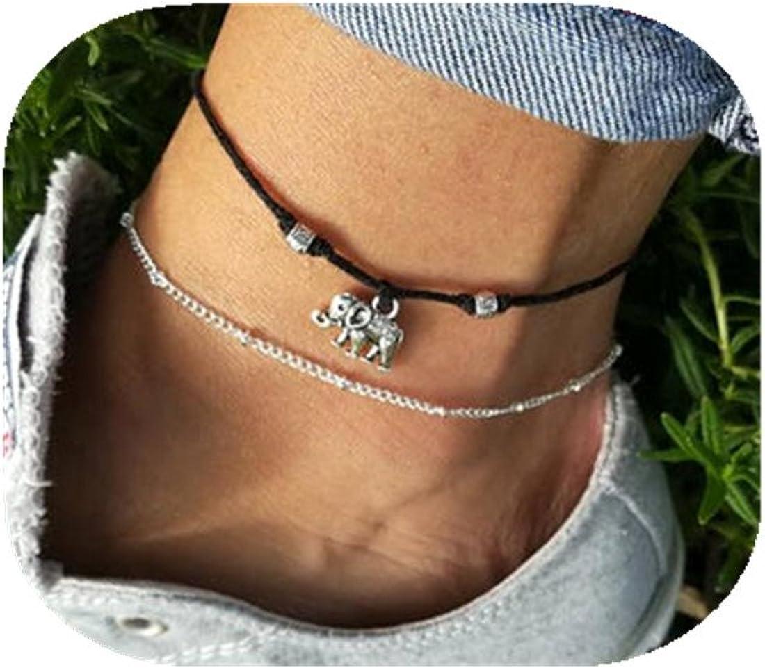 CHENCAN01 Elephant Anklet Summer Anklet Boho Gift Charm Anklet Ankle Bracelet Beach Anklet Beaded Anklet Festival Anklet Anklet Silver Anklet