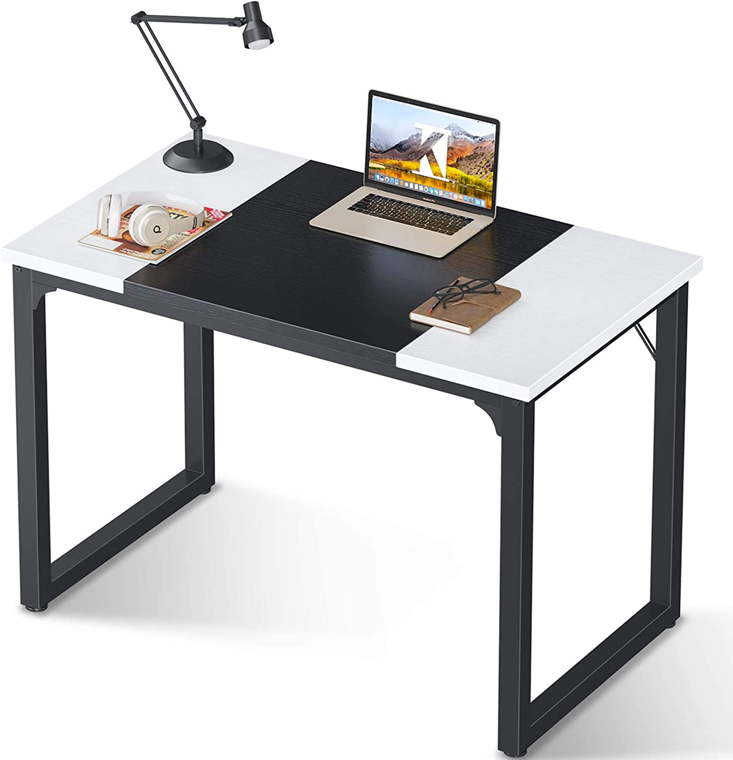 Coleshome Computer Small Study Writing Desk 39 inch,Work Home Office Desk for Small Space, Student Kids Desk with Splice Board, White and Black