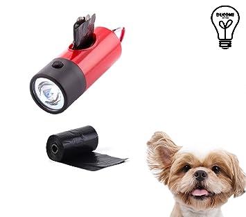 Ducomi® Dispensador para bolsas perro con 2 rollos - Porta bolsas con luz LED y mosquetón - 1 dispensador + 30 Bolsas: Amazon.es: Productos para mascotas